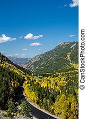 Overlook onto Colorado Mountain Road in Fall