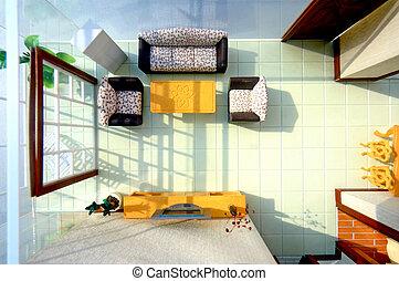 Overlook the living room