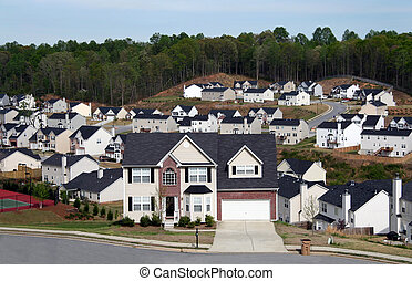 Overlooking a neighborhood of midsize homes - Overlooking a...