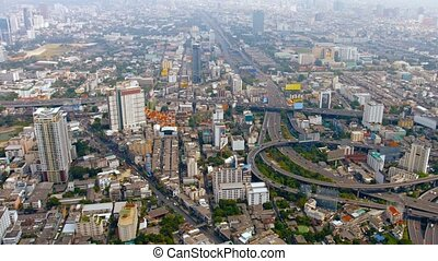 Overlooking Shot of Bangkok's Sprawling Cityscape -...