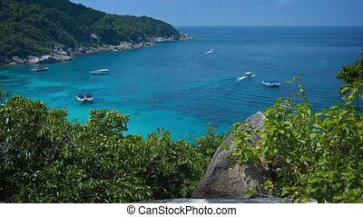 Overlooking Shot of Tour Boats in a Tropical Bay