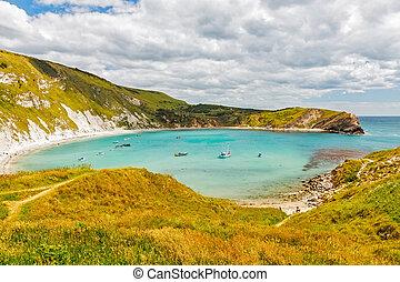 Overlooking the beautiful Lulworth Cove Dorset England UK Europe