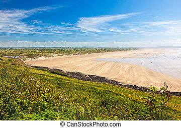 Saunton Sands Devon England UK - Overlooking the golden...