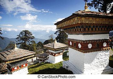 108 stupas overlooking the Himalayas in Bhutan