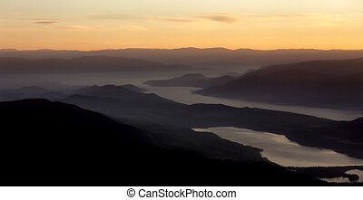 overlooking the okanagan valley at night