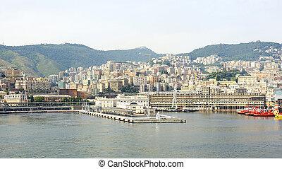 Overlooking the port of Genoa