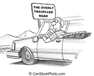 Overly travelled road - Cartoon of bored man on overly...