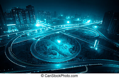 overpass at night in xian, China