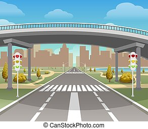 Overpass, autobahn and highway illustration