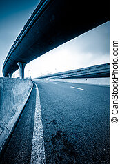 overpass - concrete road curve of viaduct in shanghai china...