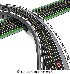 overpass, highway., car, estrada, cruzes, interchange., ilustração