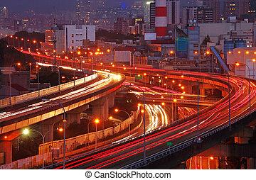 Overpass, intercâmbio, cidade