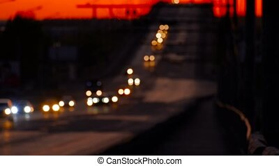Overpass On Heights With Defocused Car Light