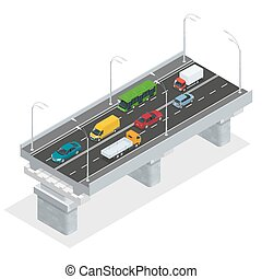 Overpass vector illustration. Elevated road junction and interchange overpass. Flat 3d isometric concept of the city with highways. Flowing traffic. Road infographics with highways with city transport