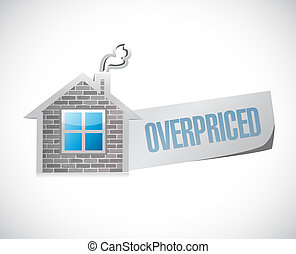 overpriced house market sign concept illustration design...