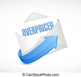 overpriced letter sign concept illustration