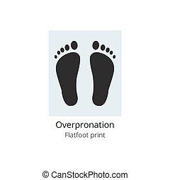 Overpronation flatfoot print of unhealthy feet, vector ...