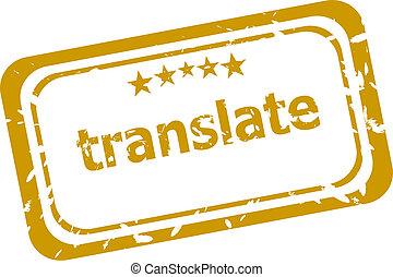 oversæt, frimærke, isoleret, på hvide, baggrund