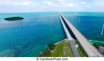 Overseas Highway aerial view on a beautiful sunny day, Florida