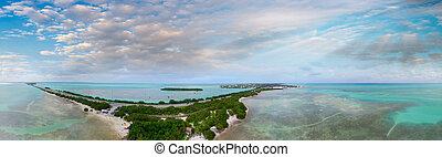 Overseas Highway and Florida Keys coastline, aerial sunset view