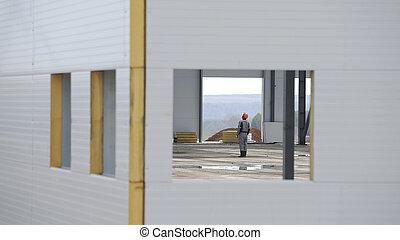 oversees, 構造, 窓, 倉庫, によって, 建設, ∥あるいは∥, 鋼鉄, 工場, サイト, 倉庫, 現代, 新しい, 建物, エンジニア, 構造, work., 打撃, コマーシャル, against.