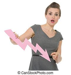 oversharpened., negócio mulher, apontar, hq, photo., confundido, mapa, seta, diminuir, não, oversaturated