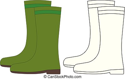 Overshoes, coloring page. Vector illustration.