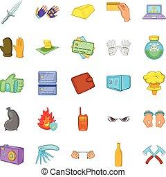 Oversight icons set, cartoon style