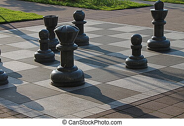 Oversized chess pieces - Giant granite chess board and...