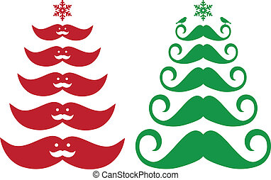 overskæg, jul, vektor, træer