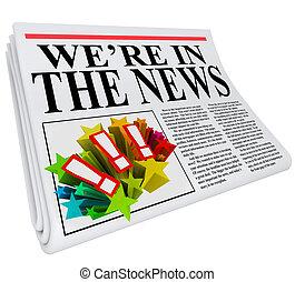 overskrift, artikel, avis, we're, nyhed
