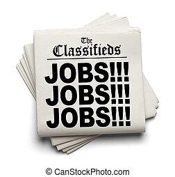 overskrift, classifieds, arbejde