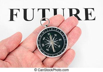 overskrift, fremtid, og, kompas