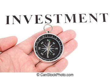 overskrift, investering, kompas