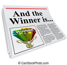 overskrift, kundgørelse, avis, vinder, trofæ