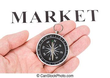 overskrift, marked, kompas