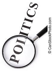 overskrift, politik, og, forstørrelsesapparat