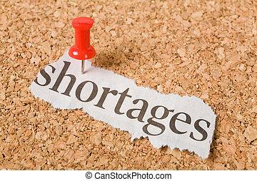 overskrift, shortages