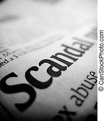 overskrift, skandal