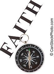 overskrift, tro, kompas