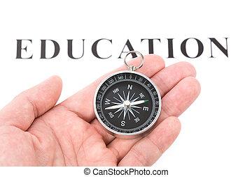overskrift, undervisning, kompas