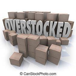 overstocked, cajas, inventario, palabras, almacén, cartón