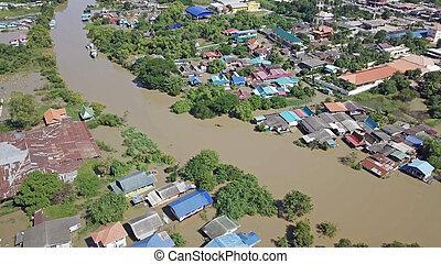 overstroming, luchtopnames, thailand., aanzicht