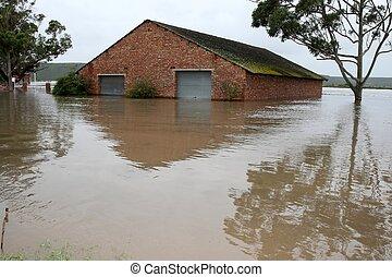 overstroomde, botenhuis, op, rivier bankieren