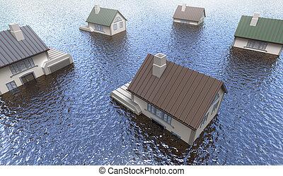 overstroomde, huizen
