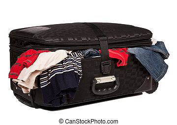 Overstuffed baggage isolated - Overstuffed baggage in old...