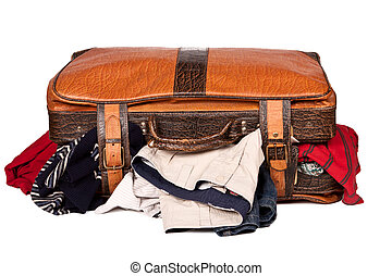 Overstuffed baggage in old suitcase isolated on white background