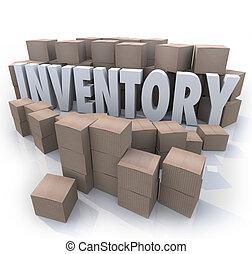 oversupply, ord, överskott, rutor, förråd, inventarium, papp