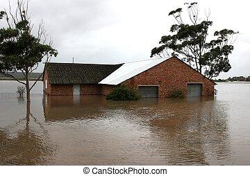 oversvømm, hus, på, flod bank