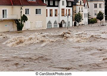 oversvømme, østrig, oversvømme, steyr